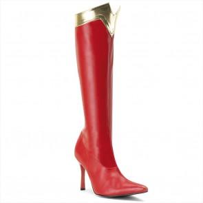 "Funtasma WONDER-130 3 3/4"" Heel Super Hero Boot, Wonder Woman Red and Gold Boot"