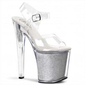 "Pleaser XTREME-808G 8"" Stiletto Ankle Strap Glitter-Filled PF Sandal"