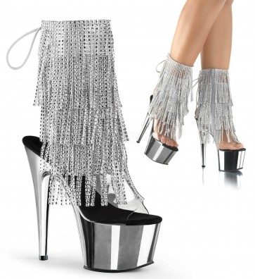 "Pleaser ADO1017RSF/C-S/SCH 7"" Heel, 2 3/4"" Platform Open Toe/Heel Lace-Up Fringe Ankle Boot"