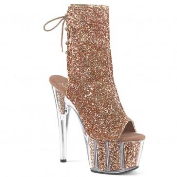 """Pleaser ADO1018G/ROGLDG/M 7"""" Hee, 2 3/4"""" Platform Glitter Ankle Strap, Side Zip"""