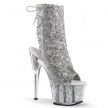 "Pleaser ADO1018G/S/M 7"" Heel, 2 3/4"" Platform Glitter Ankle Boot, Side Zip"