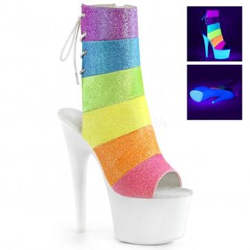 "Pleaser ADO1018RBG/RBOWG/NW 7"" Heel, 2 3/4"" Platform Open Toe/Heel Ankle Boot, Side Zip"