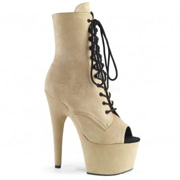 """Pleaser ADO1021FS/BEFS/M 7"""" Heel, 2 3/4"""" Platform Open Toe Lace-Up Ankle Boot, Side Zip"""