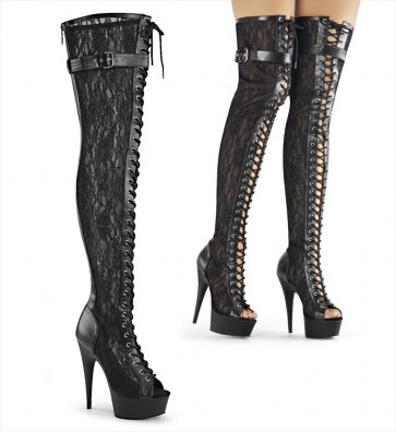 "Pleaser DEL3025ML/BPU/M 6"" Heel, 1 3/4"" Platform Peep Toe Lace-up Thigh Boot, Back Zip"