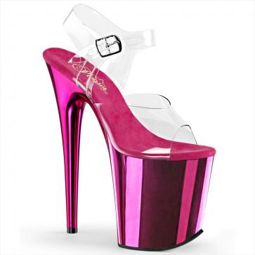 "Pleaser FLAM808/C/HPCH 8"" Heel, 4"" Platform Ankle Strap Sandal w/Chrome Plated Bottom"
