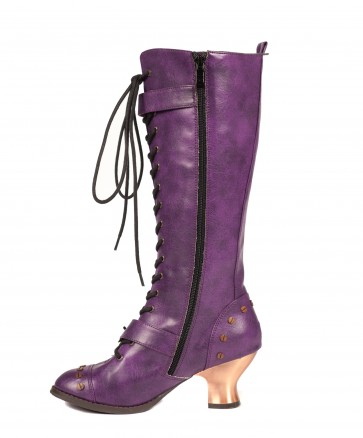 "Hades VINTAGE/PURP Hades' all time classic knee high vintage boots! Retro lacing with steampunk buckle & hardware studs. 2.5"" ABS heel with heated bronze coating."