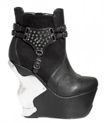 "Hades STALLION/BLK 5"" wedge w/ iron cross chrome back piece, inner platform 1.5"", studded side patch w/ mini-buckles attached"