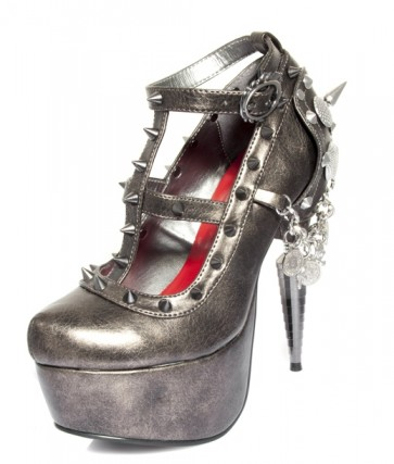 "Hades TRINITY/PEWT Rhino heel collection pewter/gray spiked upper,  matching spikes on side, 1.5"" platform w/ adjustable front laces"
