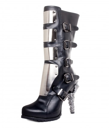 Hades VARGA/BLK Knee high biker boots w/ custom cut metal plates, inner zipper included with adjustable side buckles, double cushion insole with think rubber outsole for added comfort