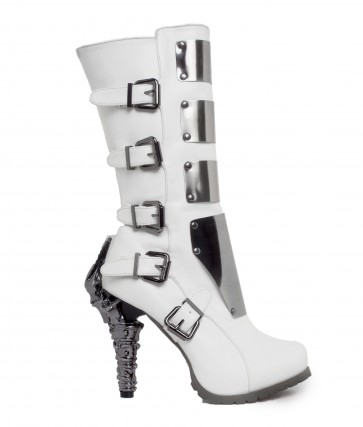 Hades VARGA/WHT Knee high biker boots w/ custom cut metal plates, inner zipper included with adjustable side buckles, double cushion insole with think rubber outsole for added comfort
