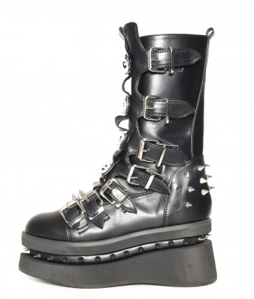 Hades STETCHEN/BLK Black platform boot with seven buckle straps. Layered platform spikes between soles and on heel.