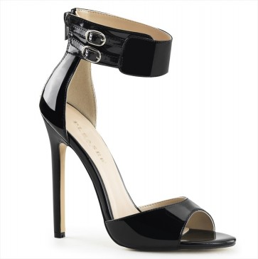 """Pleaser SEXY19/B 5"""" Heel Closed Back Ankle Strap Sandal, Back Zip"""