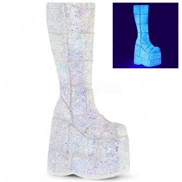 "Demonia STA301G/WMCG 7"" Platform Knee High Boot, Side Zip"