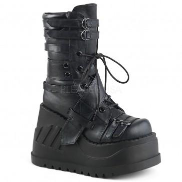"Demonia STO26/BVL 4 3/4"" Platform Wedge Lace-Up  Mid-Calf Boot"