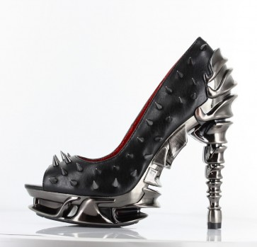 Hades TALON/BLK Chrome plated multi-piece spinal heel. Open toe thundra PU pump w/ metal spikes