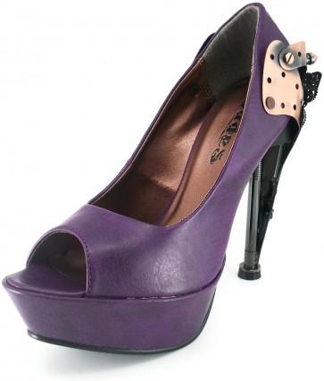 Hades TITAN/PURPLE  Custom steampunk metallic plated heel w/ butterfly logo & gears. Thundra PU material (synthetic leather) platform peep-toe pumps