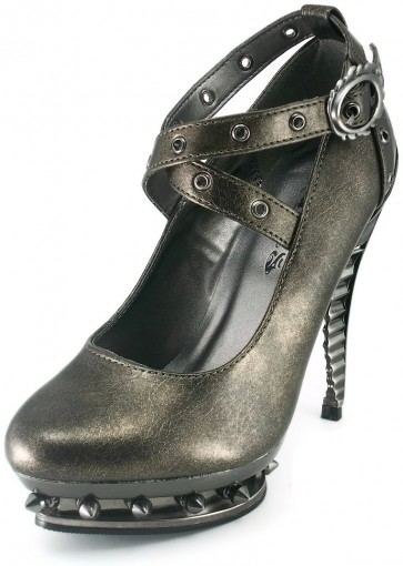 Hades TRITON/PEWTER Shiny, Sexy , Steamy shoes in a lovely color to adorn your feet! Heel Height 5inches with platform front. Chrome Rivets, buckle and spikes. Metallic