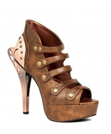 """Hades VERA/BRWN Victorian upper design with 5"""" double metal Steampunk heel and connecting industrial ankle armor, circular snap buckles, 1.5"""" platform"""