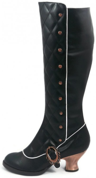"""Hades VICTORIANA/BLK  vintage retro boots w/ stitched front & inner zipper. 2.5"""" bronze coated ABS heel. Adjustable custom Steampunk flame buckles and lace"""
