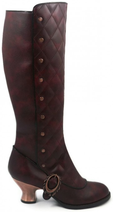 """Hades VICTORIANA/BURG  Thundra PU vintage retro boots w/ stitched front & inner zipper. 2.5"""" bronze coated ABS heel"""