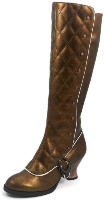 """Hades VICTORIANA/GOLD  Thundra PU vintage retro boots w/ stitched front & inner zipper. 2.5"""" bronze coated ABS heel."""