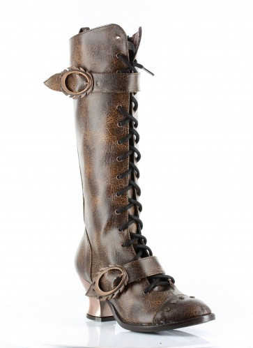 """Hades VINTAGE/BRWN  Retro lacing with steampunk buckle & hardware studs. 2.5"""" ABS heel with heated bronze coating. Comes in 4 unique steampunk colors."""