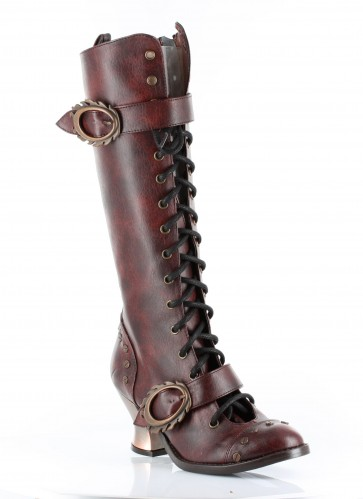 "Hades VINTAGE/BURG Retro lacing with steampunk buckle & hardware studs. 2.5"" ABS heel with heated bronze coating. Comes in 4 unique steampunk colors. Strew rivets"