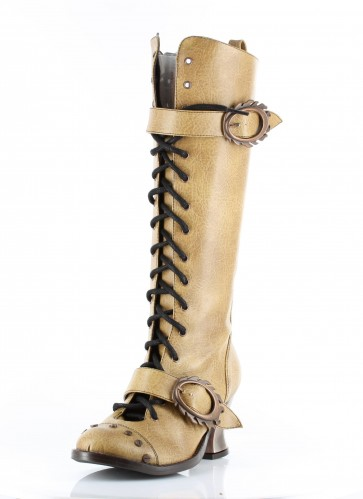 """Hades VINTAGE/MUSTRD Retro lacing with steampunk buckle & hardware studs. 2.5"""" ABS heel with heated bronze coating. Comes in 4 unique steampunk colors."""