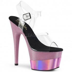 """Pleaser ADO708-2HGM/C/BPGHG 7"""" Heel, 2 3/4"""" Platform Ankle Strap Sandal"""