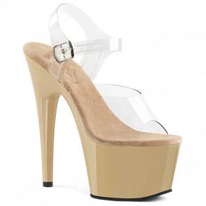 """Pleaser ADO708/C/CR 7"""" Heel, 2 3/4"""" Platform Ankle Strap Sandal"""