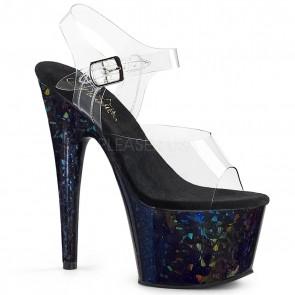"""Pleaser ADO708HSP/C/BL **7"""" Heel, 2 3/4"""" Platform Ankle Strap Sandal w/ Shatter Effect"""
