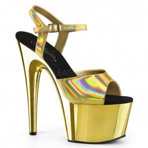 Pleaser ADORE-709HGCH Gold Hologram/Gold Chrome