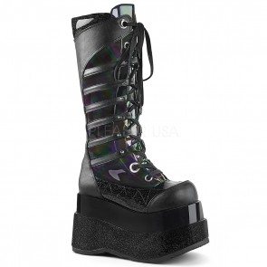 Demonia BEAR-205 Blk Hologram Patent-Blk Vegan Leather