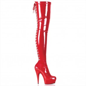 Pleaser DELIGHT-3063 Red Str Pat/Red