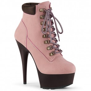 Pleaser DELIGHT-600TL-02 B. Pink Nubuck Faux Leather/D. Brown Matte