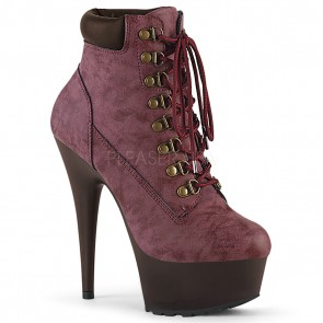 Pleaser DELIGHT-600TL-02 Burgundy Nubuck Faux Leather/D.Brown Matte