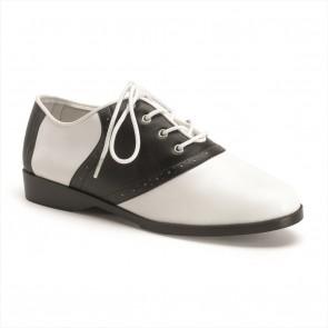 Funtasma SAD50/BW/PU Front Lace Up Flat Costume Saddle Shoes