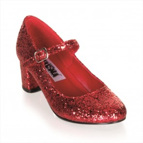 "Funtasma SCH50G/R 2"" Heel Plain Mary Jane Schoolgirl Retro Shoe w/Glitter"