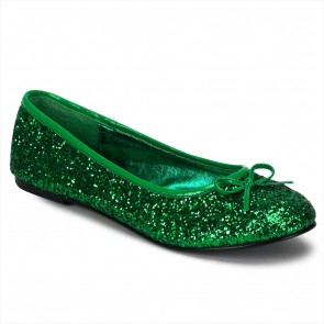Funtasma STAR16G/GRN Adult Ballet Glitter Flat with Bow Accent, Fantasy, Fairy