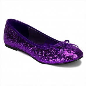 Funtasma STAR16G/PUR Adult Ballet Glitter Flat with Bow Accent, Fantasy, Fairy