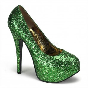 "Bordello TEE06G/GRN **5 3/4"" Heel, 1 3/4"" Hidden Platform Glitter Pump"