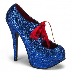 "Bordello TEE10G/BLU **5 3/4"" Heel, 1 3/4"" Hidden Platform Glitter Pump W/Ribbon Bow"