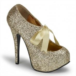 "Bordello TEE10G/G **5 3/4"" Heel, 1 3/4"" Hidden Platform Glitter Pump W/Ribbon Bow"
