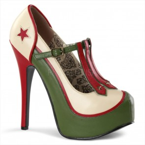Bordello TEEZE-43 Cream-Olive Green Pu