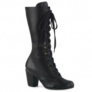 "Demonia VIK205/BVL 3"" Block Heel Round Toe Lace-Up Mid-Calf Boot, Size Zip"