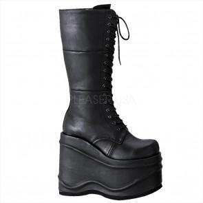 "Demonia WAV302/B/PU **5 3/4"" Goth Punk Cyber Lace-Up Platform Knee BT"