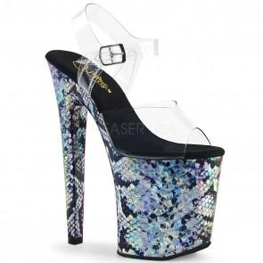 """Pleaser XTM808SSP/C/SHG 8"""" Heel, 4"""" Platform Ankle Strap Sandal w/ Snake Skin Print"""